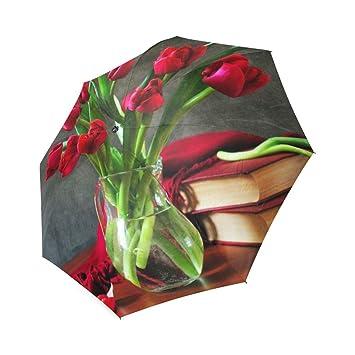 Customized unique rojo tulipanes flores plegable lluvia paraguas/sombrilla/ paraguas de sol