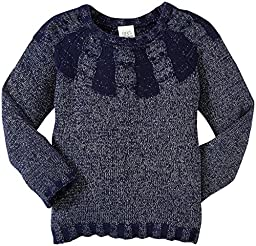 Egg by Susan Lazar Little Girl\'s Lurex Knit Pull Over Sweater (Toddler/Kid) - Navy - 2T