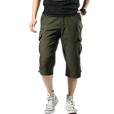 f2729a0a60 Image Unavailable. Image not available for. Color: Summer Men's Baggy Multi  Pocket Military Zipper Short ...
