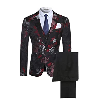 522b359cb8edf2 Image Unavailable. Image not available for. Color: Men's 3-Piece Suit  Notched Lapel Floral One Button Modern Blazer Vest ...