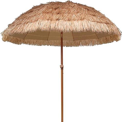 AMMSUN 7.5ft Hula Thatched Tiki Umbrella Hawaiian Style Beach Patio Umbrella 10 Ribs UPF 50