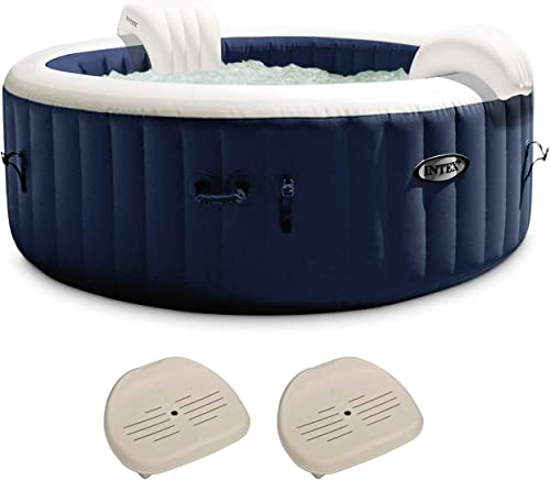 Intex 28431E PureSpa Plus 85in x 25in Outdoor Portable Inflatable 6 Person Round Hot Tub Spa