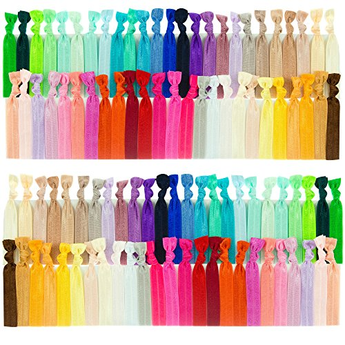 JLIKA Elastic Hair Ties (SET OF 100) Colorful Solids, No Crease Ouchless Ponytail Holders, Ribbon Hairties for Women Girls Teens and (Black Long Wig With Two Braids)