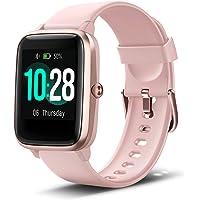 Anbes - Reloj inteligente de salud y fitness con monitor de frecuencia cardíaca, reloj inteligente para seguimiento de fitness en el hogar, yoga, bicicleta de ejercicio, cinta de correr, compatible con teléfonos iPhone y Android para mujeres y hombres, Rosado