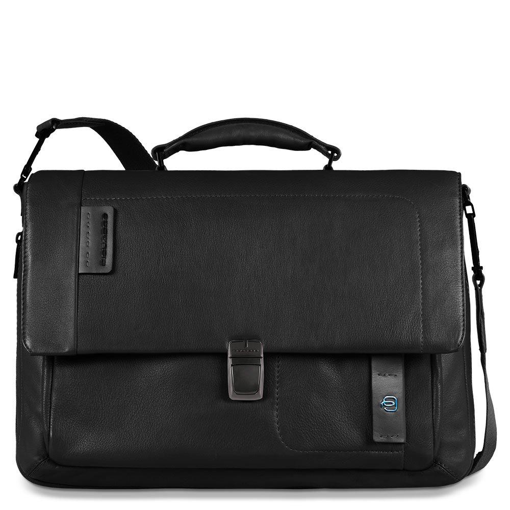 Piquadro Flap Over Expandable Computer Messenger Bag, Black, One Size