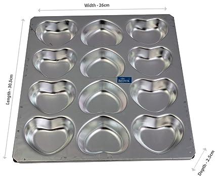 Rolex Aluminium Muffin Bakeware Tray Little Heart Tray 12 cavity