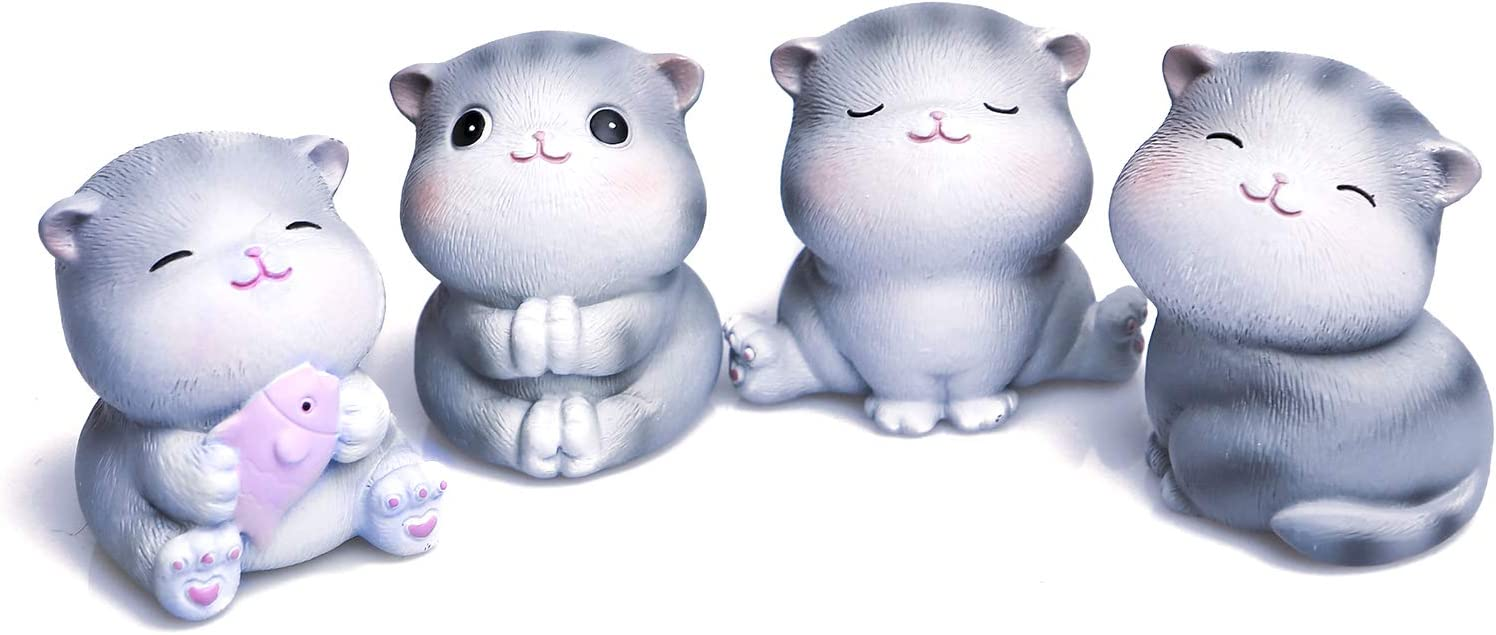 ANTS TRIBE Cute Mini Cat Statues 4-Piece Set, Collectible Figurines, Home Office Bookshelf Desktop Decor, Kids Gifts | Gifts for Cat Lovers