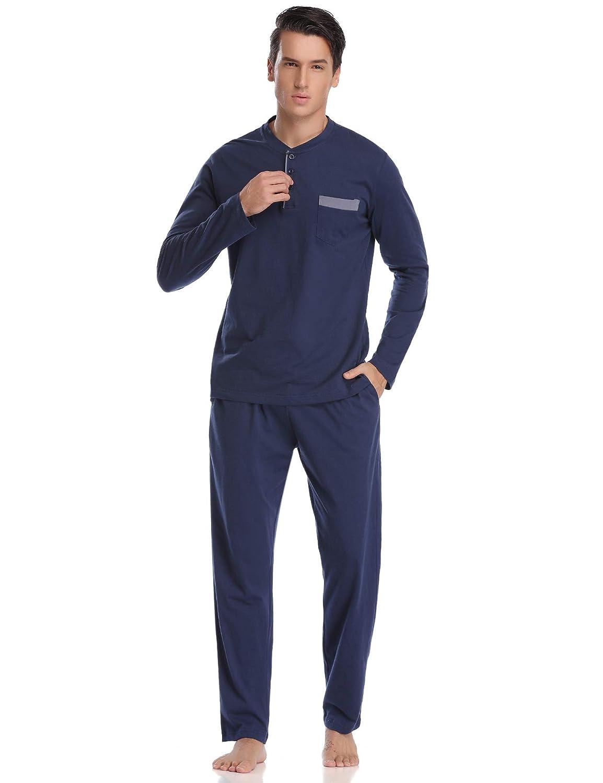 Aiboria Damen Schlafanzug Pyjama V-Ausschnitt mit Gepunkte Hose Baumwolle Lang Freizeithosen Jerseyhose Schlafanzughose Set Pant Zweiteiliger Anzug Nachtw/äsche