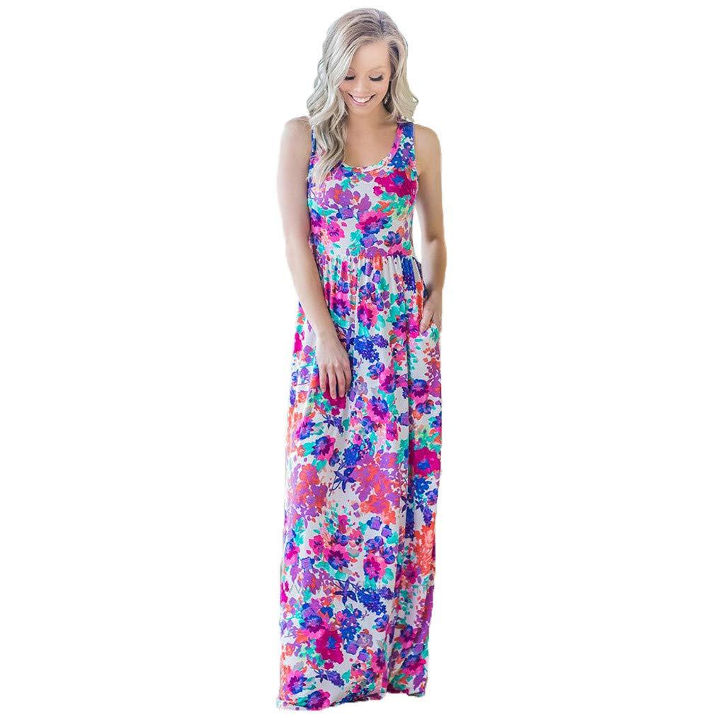 Fitfulvan Women's Sleeveless Round Neck Pullover Print High Waist Dress Casual Loose Pocket Dress Beach Skirt(Purple)