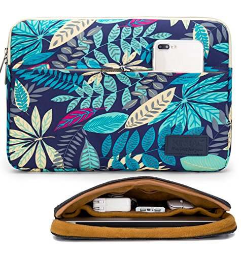 Kinmac Maple Leaf Blue 360 Degree Protective 13 inch Water Resistant Laptop Sleeve Bag Case with Multi Pockets for 13 inch to 13.3 inch Laptop