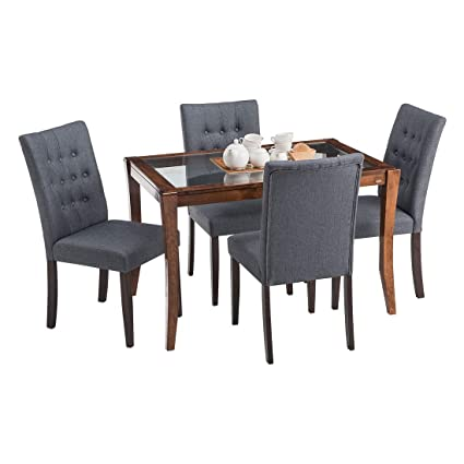 premium selection 01f37 0bb61 Durian Cameron/A Four Seater Dining Set (Dark Oak, Glossy ...