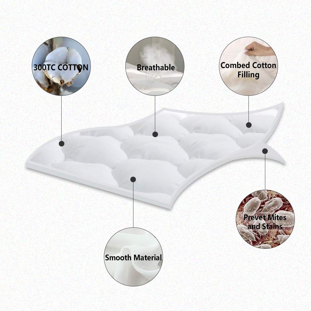 """King BEL TESORO Quilted Extra Plush Mattress Pad Combed Cotton Filled Cooling Mattress Topper Stretches Up to 8-21/"""" Deep Pocket /…"""