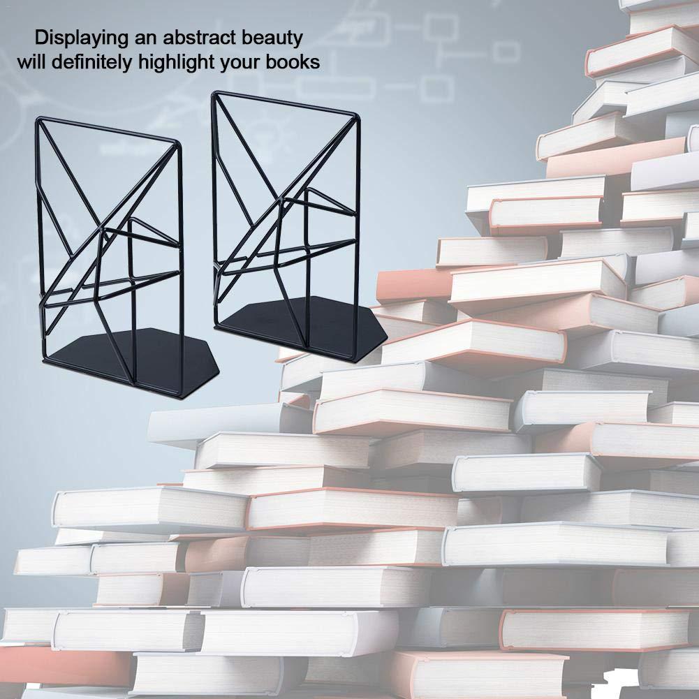 per Scaffali S-tubit Reggilibri Supporti per Scaffali per Libri in Metallo Decorativo Nero Resistente Fermalibri dal Design Geometrico Unico per Studenti Practical Polite