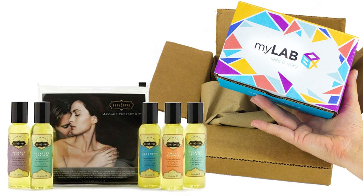 myLAB Box Bundle - Chlamydia/Gonorrhea/HIV Mail-In Test Kit (MALE, Lab-Certified Results in 3-5 days) + Kama Sutra Massage Oils (59ml, set of five) by myLAB Box