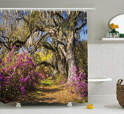 South Carolina Printed Curtain - Ambesonne Americana Landscape Decor Shower Curtain by, Flowers in Charleston South Carolina Azalea Blooms Oak Tree, Fabric Bathroom Decor Set with Hooks, 70 Inches, Violet Purple