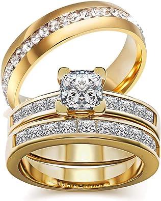 Amazon.com: Juego de anillos de boda de dos anillos para ...