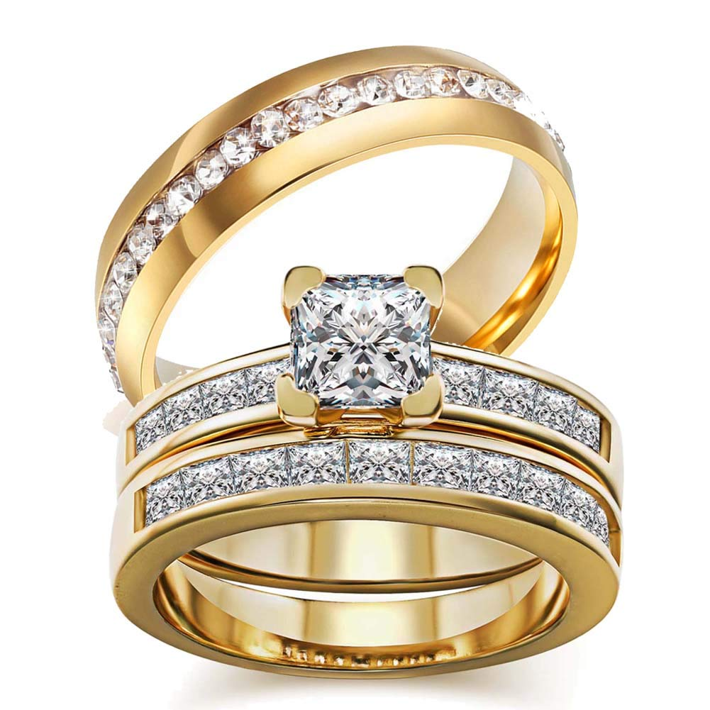 wedding ring set Two Rings His Hers Couples Rings Women's 10k Yellow Gold Filled White CZ Wedding Engagement Ring Bridal Sets & Men's Stainless Steel Wedding Band
