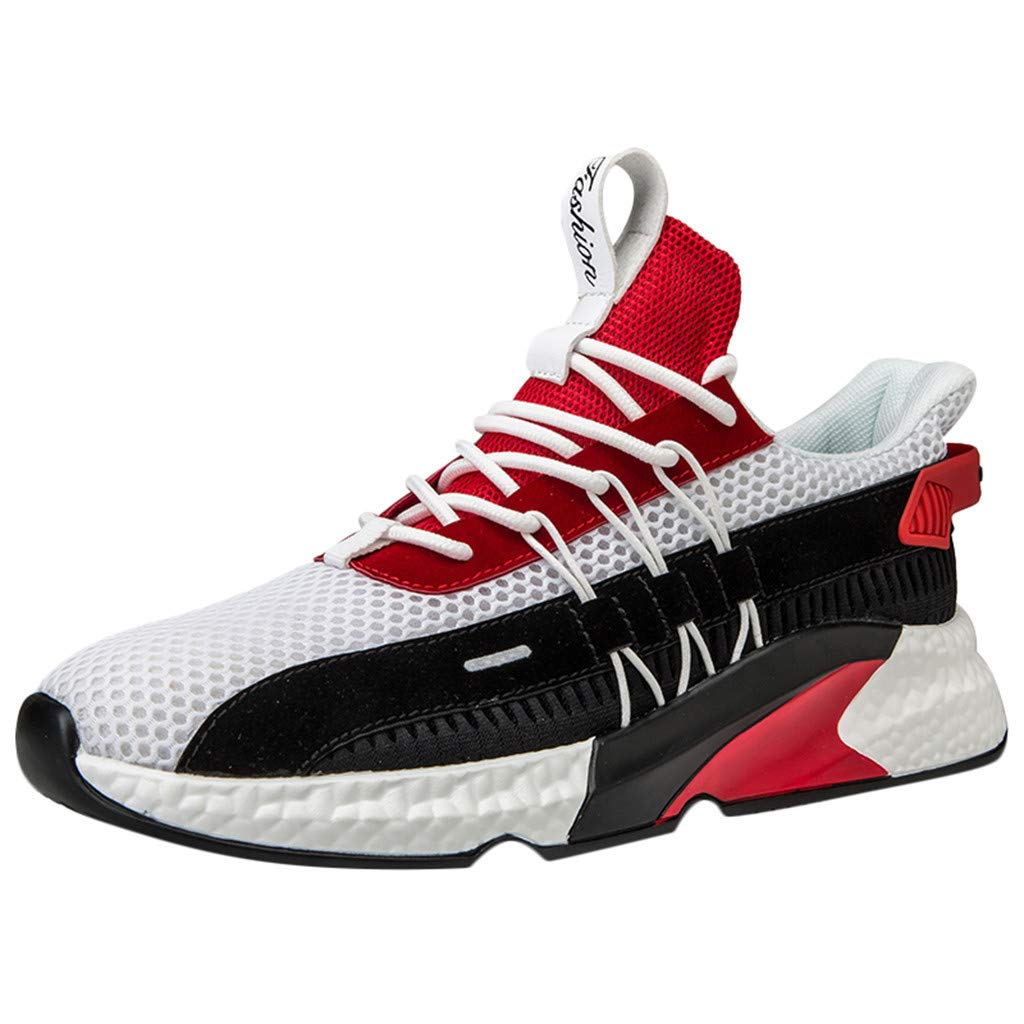Tsmile Men's Running Shoes Plus Size Woven Breathable Platform Sneakers Shoes Outdoor Mesh Casual Shoes
