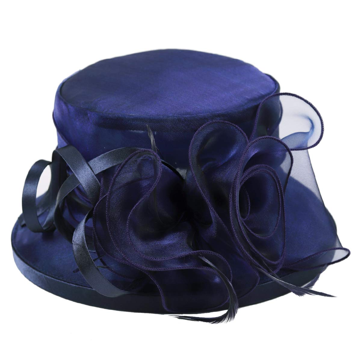 Lady Church Derby Dress Cloche Hat Fascinator Floral Tea Party Wedding Bucket Hat S051 (S043-Navy) by Ruphedy (Image #2)