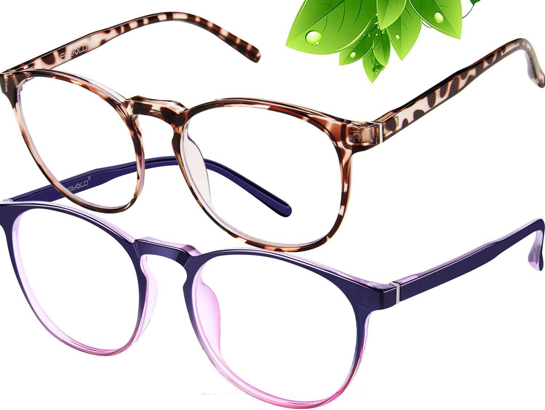2Pack FEIYOLD Blue Light Blocking Glasses Women//Men,Retro Round Anti Eyestrain Computer Gaming Glasses