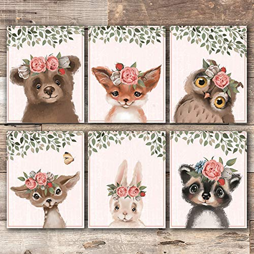 Amazon Com Woodland Animals Nursery Wall Art Prints Set Of 6 Unframed 8x10s Floral Crowns Handmade