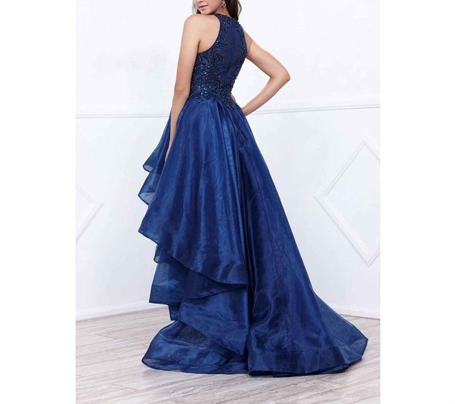 High Low Beaded Prom Dress Long High Neck Poofy Organza Homecoming Party Gowns at Amazon Womens Clothing store: