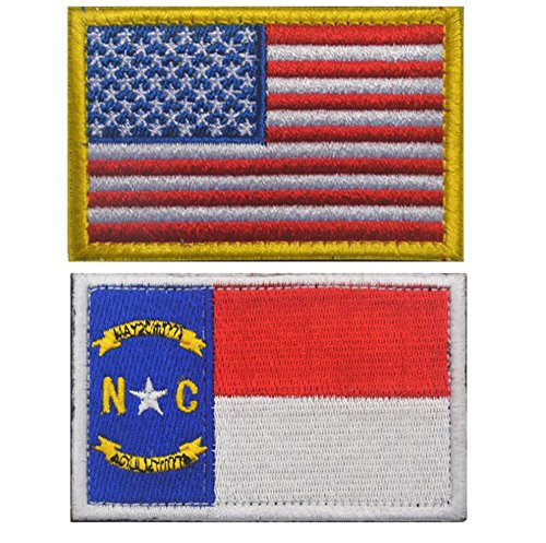 MUstBF Embroidered USA Flag and North Carolina Flag Velcro P