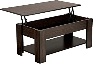 YAHEETECH Lift Top Coffee Table with Hidden Compartment and Storage Shelf, Rising Tabletop for Living Room Reception Room, 38.6in L