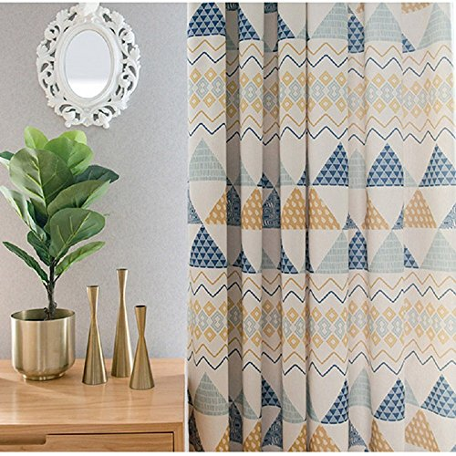 TIYANA Printed Curtains With Grommets for Living Room 96 inch Long Triangles Print Window Treatment Window Panels for Bedroom Kids Room, 1 Panel, 75×96 inch Review