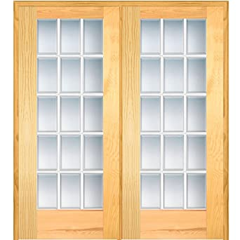 National Door Company ZA19964L Unfinished Pine Wood 15 Lite True Divided,  Beveled Clear Glass,