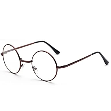 c8ee53957f824d Vococal Hommes femmes mode classique rétro cadre en métal rond clair verres  à lentilles décoratifs cadre accessoire pour lunettes de myopie  Amazon.fr   ...