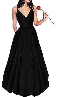 Bonnie_Shop Womens Elegant Prom Dresses 2018 Long/Short Spaghetti Straps Satin Evening Party Dress Pockets