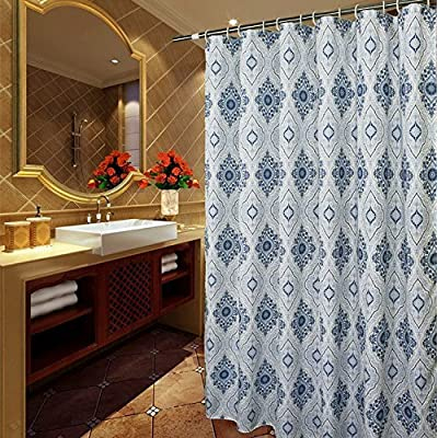 Welwo 69 Inches By 84 Extra Long Shower Curtain Ink Blue And White Paisley