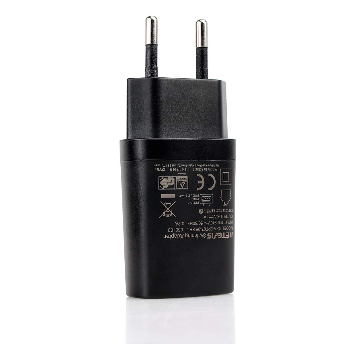 Retevis Adaptador USB Cargador 5V 1A Compatible con Walkie Talkie RT24 RT22 RT622 RT27 RT45 RT28 RT617 RT618 RT619 RT46 RT667 Baofeng BF-88E Caroger CB100 Radioddity GA-2S 2 Pacs