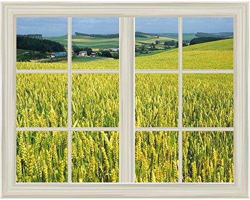 Ripe Yellow Wheat Field Window View Mural Wall Sticker