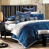 Artology Sashiko Mini Comforter Set, King, Indigo Blue