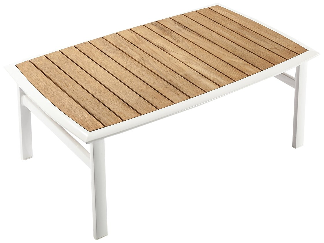 Control Brand The Corfu Coffee Table Teak, White - Made with weatherproof Aluminum Suitable for Indoor/Outdoor Partial Assembly Required - living-room-furniture, living-room, coffee-tables - 61FTv4KGGtL -