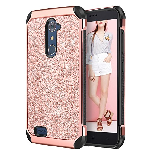 DUEDEUE ZTE ZMax Pro Case, ZTE Carry Z981 Case Glitter Dual Layer Slim Hybrid Bling Shiny Faux Leather Protective Phone Cover for Girls & Women, Rose Gold - Gran Duo