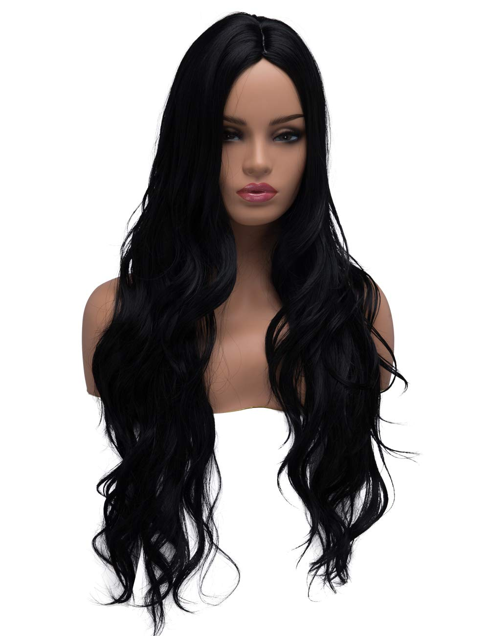 Amazon.com   BESTUNG Long Curly Wavy Wigs for Women Ladies Synthetic Full  Hair Natural Black Brunette Wig with Middle Parting Bangs for Daily Wear  (Middle ... f5124d408