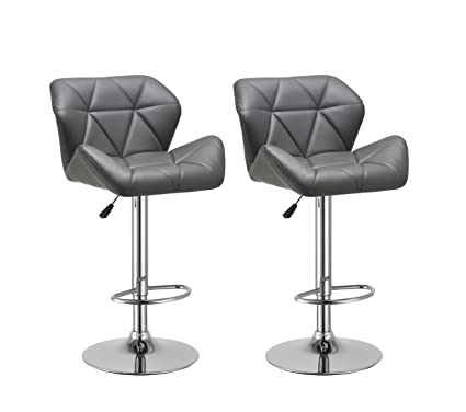 Duhome 2 Pcs Contemporary Synthetic Leather Bar Stools Kitchen Counter Pub  Chairs (Grey)