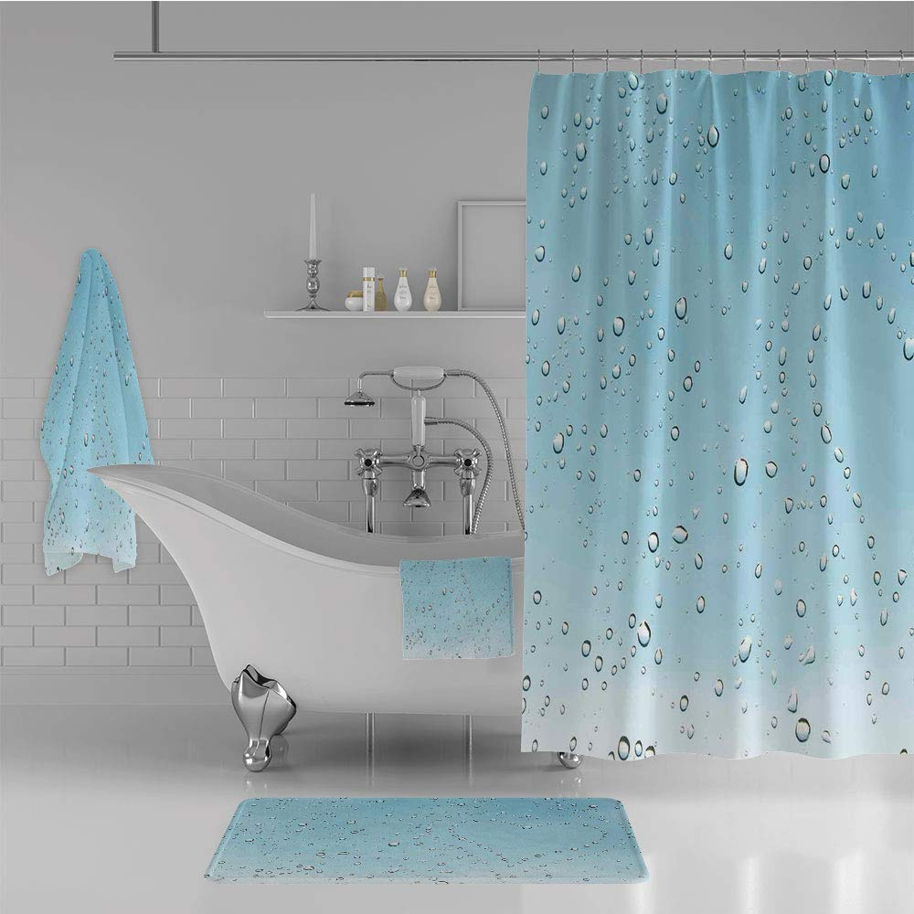 iPrint Bathroom 4 Piece Set Shower Curtain Floor mat Bath Towel 3D Print,Droplets on Crystal Clear Window Glass Pure,Fashion Personality Customization adds Color to Your Bathroom.