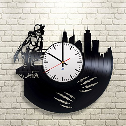 Catwoman Halle Costume Berry (Modern Vinyl Record Wall Clock With Catwoman Arkham Knight Design - Unique Bedroom or Bathroom Wall Decor - Original Gift Idea For Women, Girls, Men and Boys - Exclusive Comics)