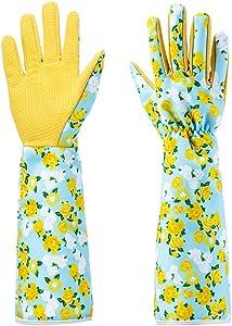 Geloo Women Professional Long Sleeve Trim Gardening Gloves, Garden Gloves (Yellow)