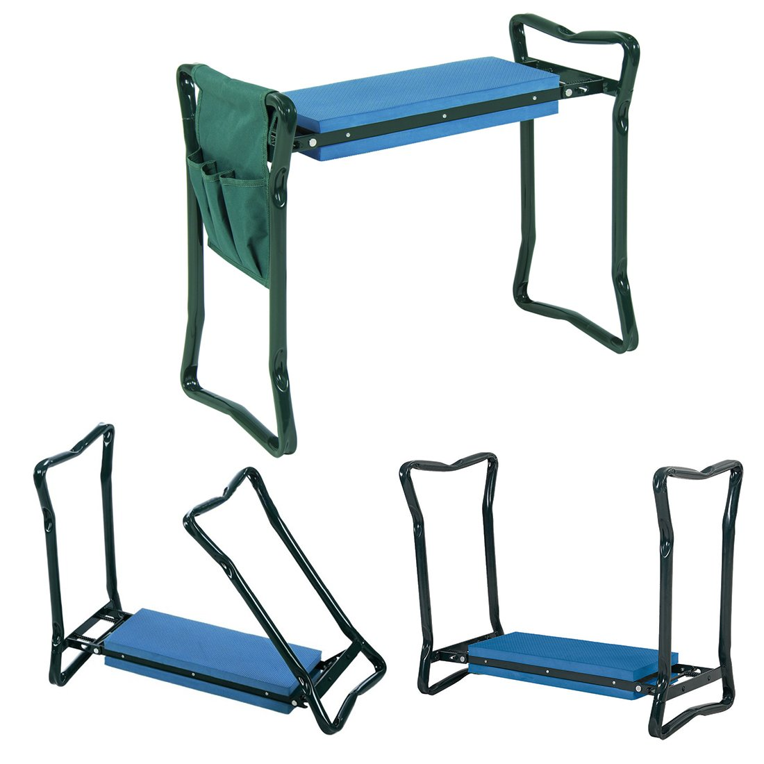 EBUNG Garden Kneeler and Seat Effective Knee Cushion That Transforms to Seat for Convenient Resting Flip up Side Down 2-in-1 Design Includes Tool Pouch Sturdy Build Gardeners Foldable Kneeler