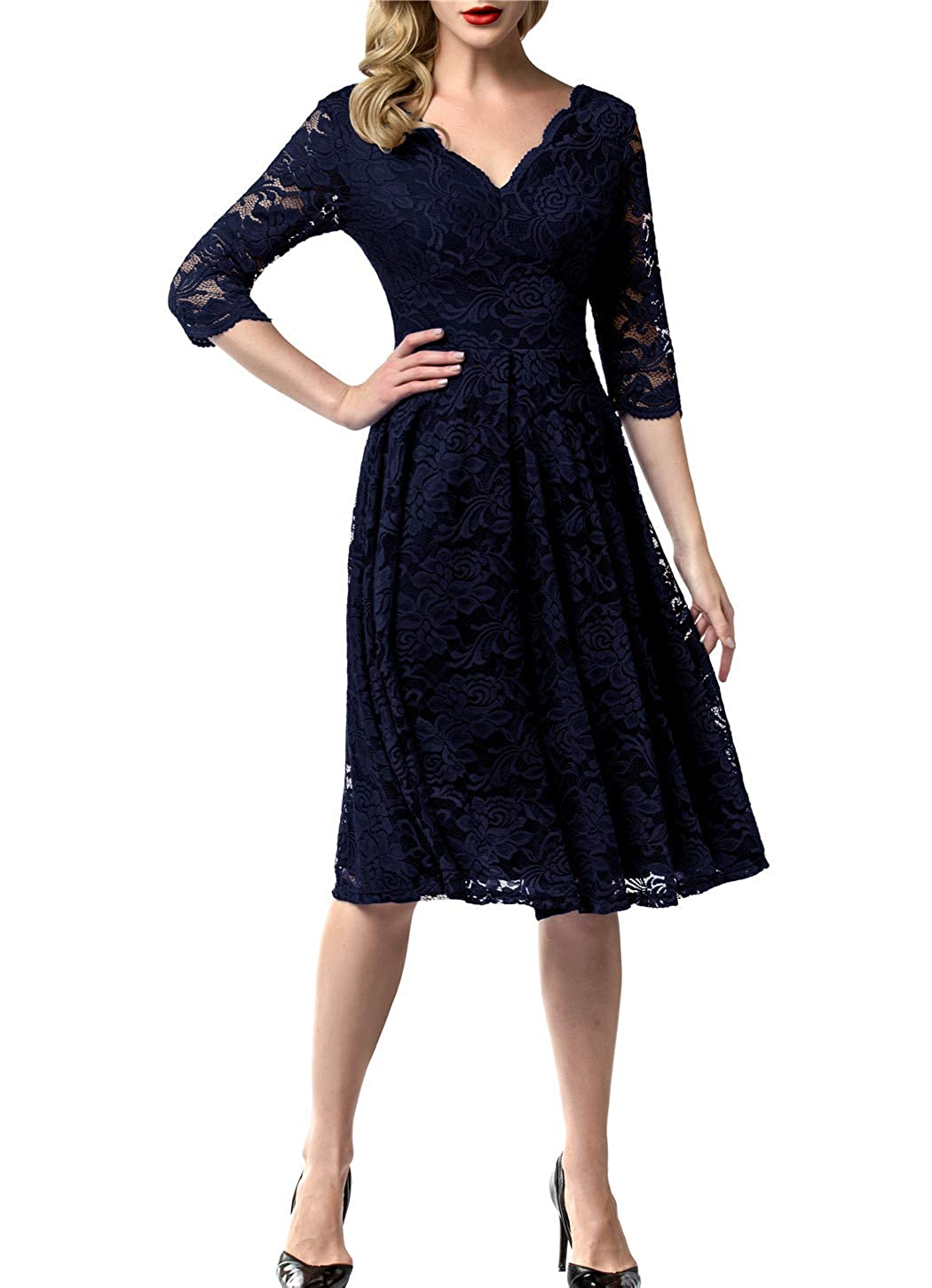 1940s Dresses | 40s Dress, Swing Dress AONOUR Womens Vintage Floral Lace Bridesmaid Dress 3/4 Sleeve Wedding Party Midi Dress $42.99 AT vintagedancer.com