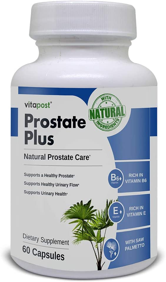 Prostate Plus | Natural Health Prostate Support Formula, Enriched with Vitamin E, B6, Saw Palmetto, and More. Supplement for Men. 30 Servings.