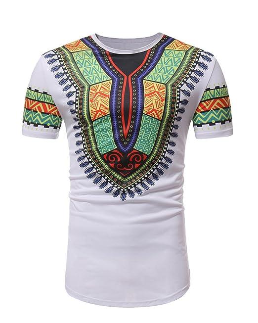 Camisetas Hombre, Camisetas Hombre Originales, Blusa Hombre, Hombres Casual Camiseta Estampada Africana De Manga Corta con Cuello En O Blusa Tops: ...