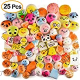 KUUQA 25 Pcs Random Slow Rising Squishies Jumbo Medium Mini Kawaii Squishy Cake/Panda/Donuts Toys Phone Straps Key Chains Stress Relief Toy Christmas/Birthday Party Present Favors Bags