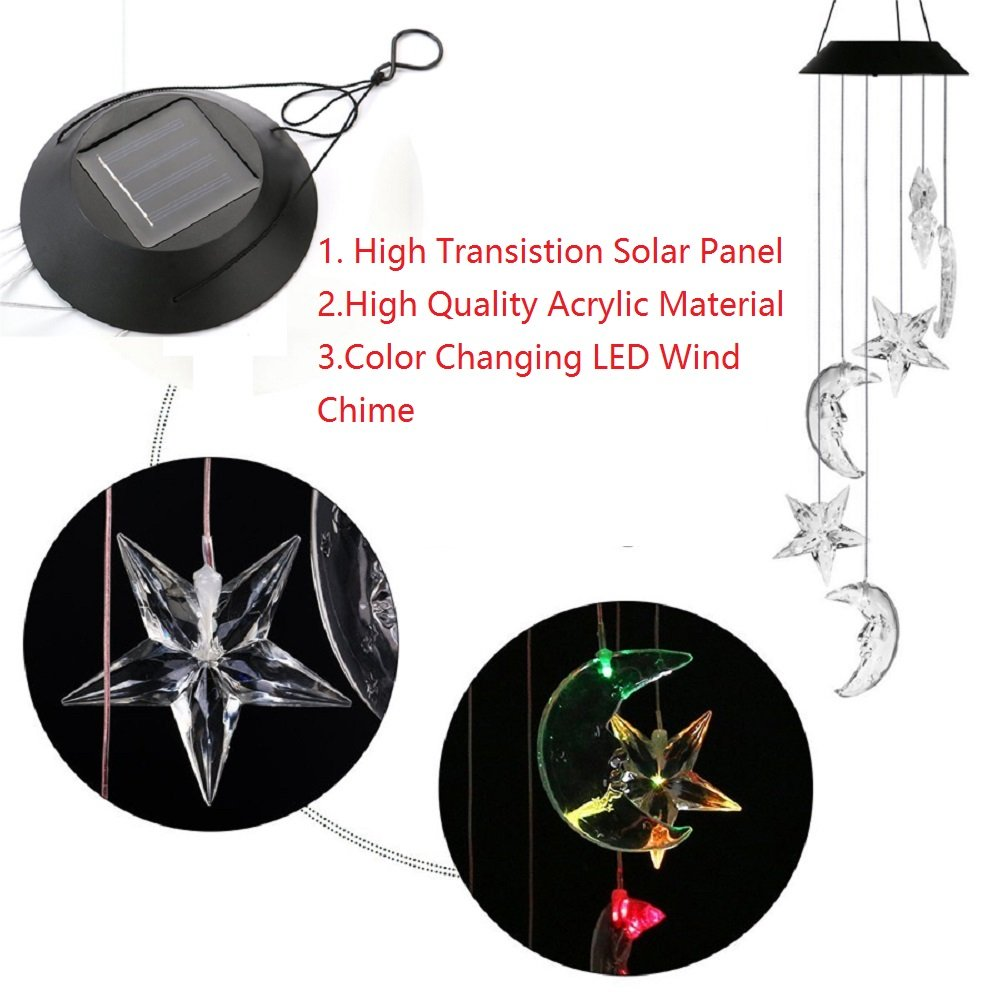 Lighten Glimmer Colorful Solar Spiral Wind Waterproof Changing Romantic Star Moon Wind Chime Light Mobile Balcony Courtyard Hanging (For Outdoor Garden) by Lighten Glimmer (Image #5)