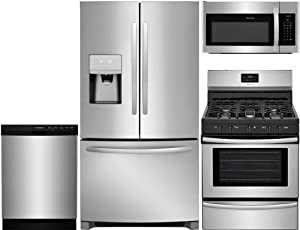 "Frigidaire 4-Piece Stainless Steel Kitchen Package with FFHB2750TS 36"" French Door Refrigerator, FFGF3052TS 30"" Freestanding Gas Range, FFBD2412SS 24"" Full Console Dishwasher and FFMV1645TS 30"" Over-t"